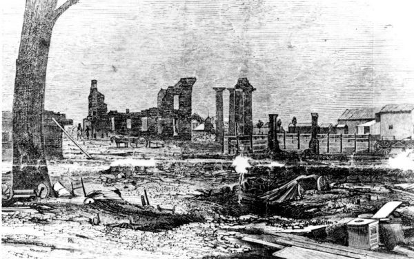 Burnt ruins of first Capitol in Sacramento 1852