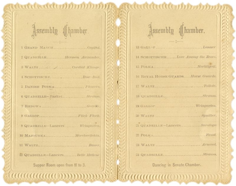 Capitol Ball Assembly Chamber Dance Cards 1869