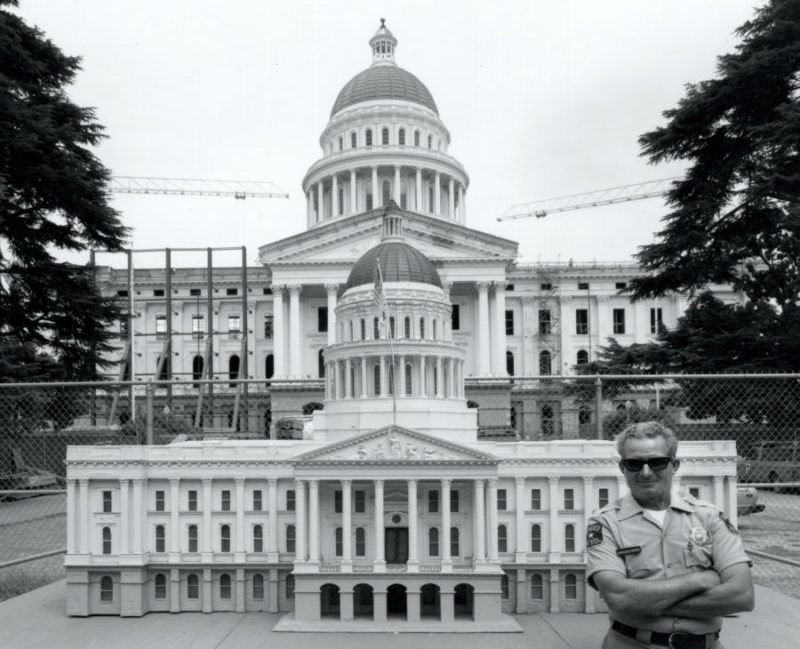 Model of Capitol in front of actual Capitol