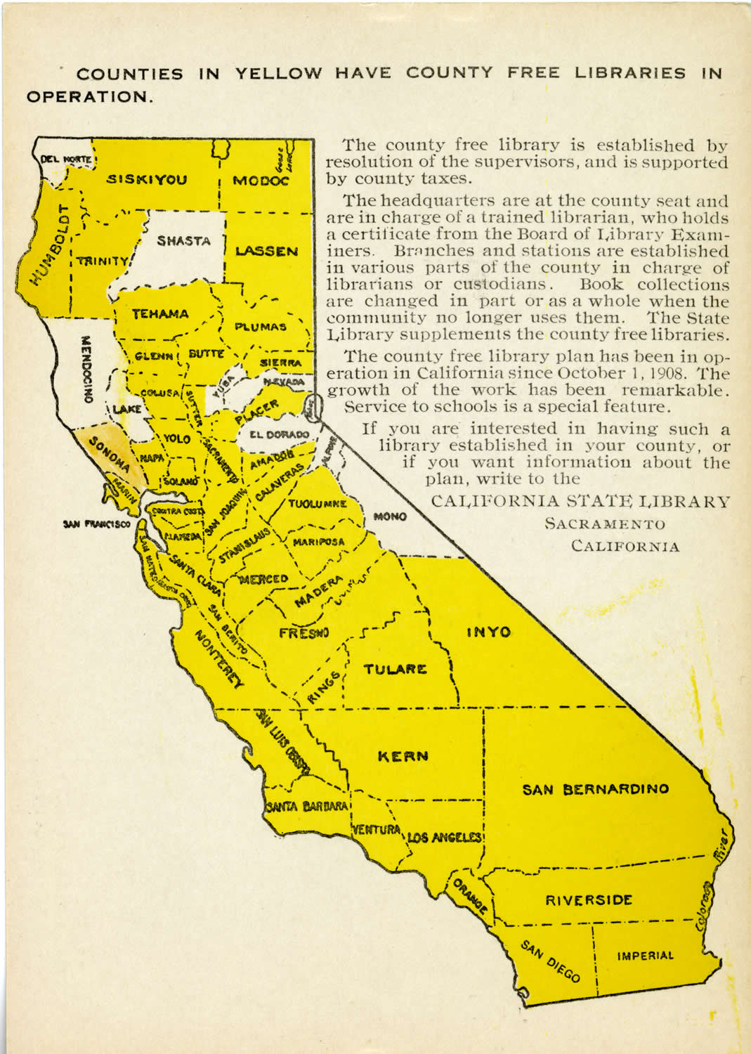California State Library mailer with map advertising the 49 California counties with County Free Libraries, c.1910s