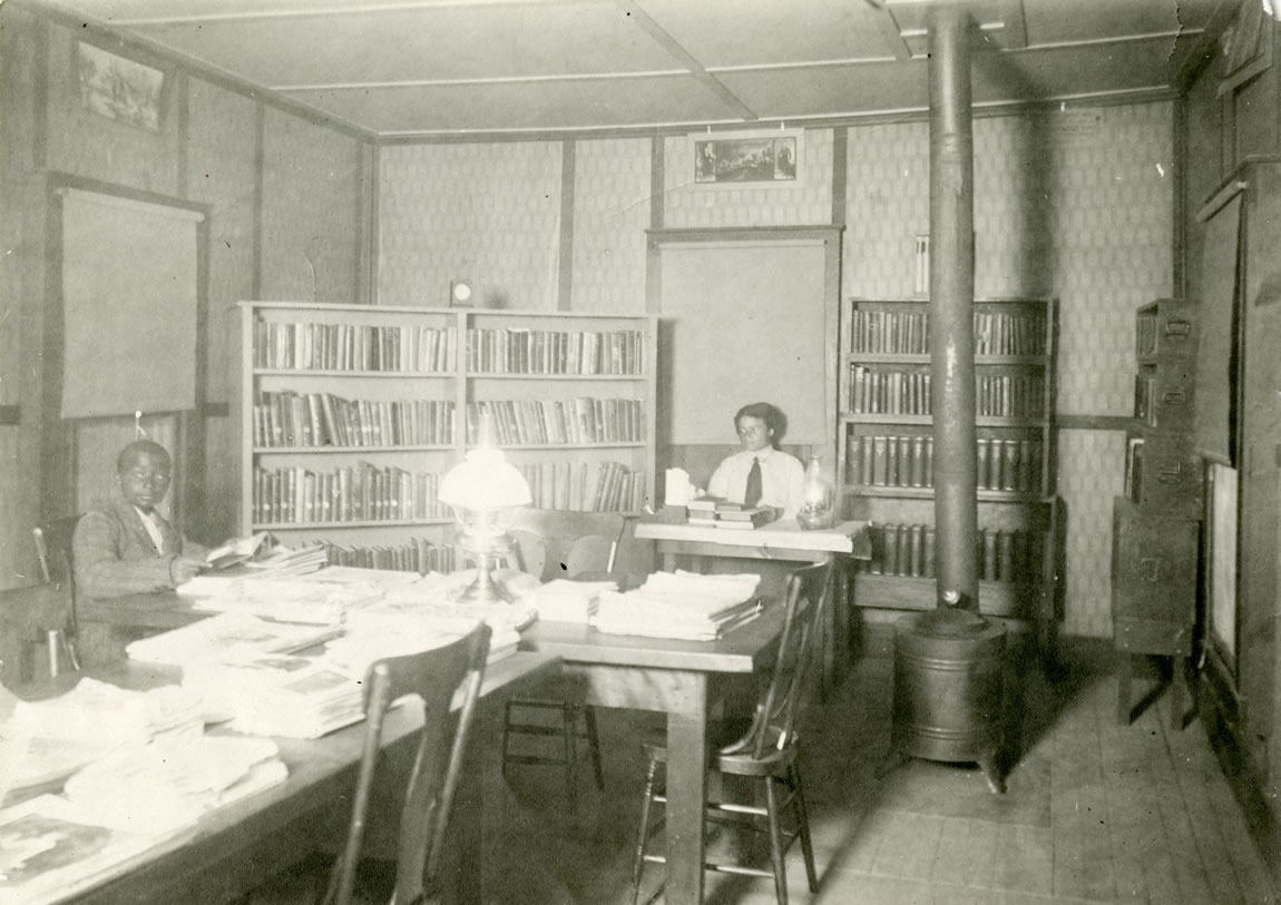 Interior of the Tulare County Library branch at the African American township of Allensworth, c.1910s