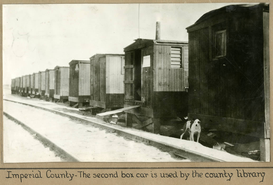 Imperial County Library branch at Niland which was housed in second boxcar from the right, c.1920s