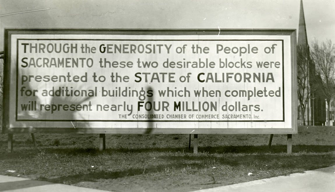 Billboard acknowledging the future home of the new State Library, c.1920s