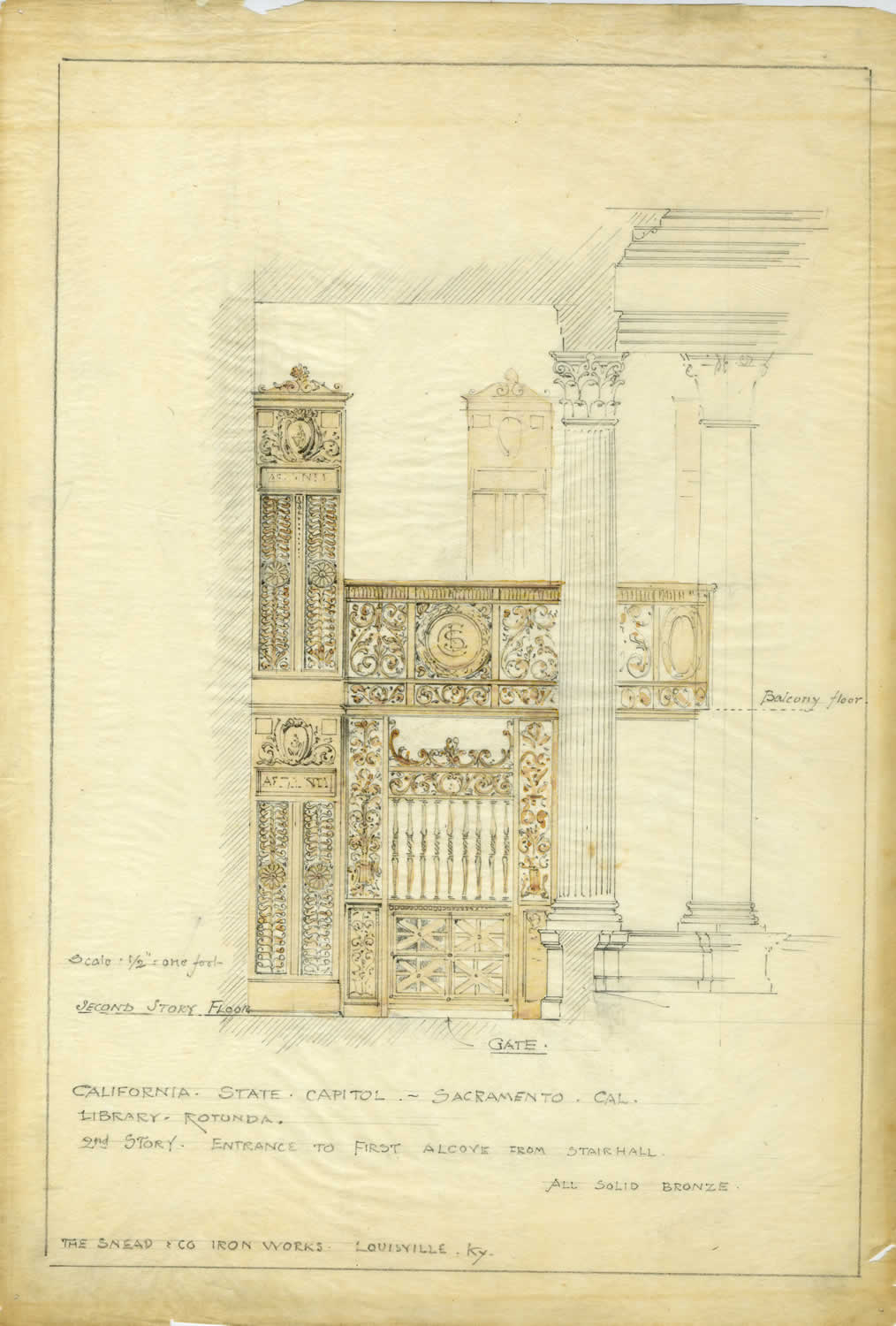 Architect's drawing of the grill work for the entrance to the State Library in the Capitol, c.1892