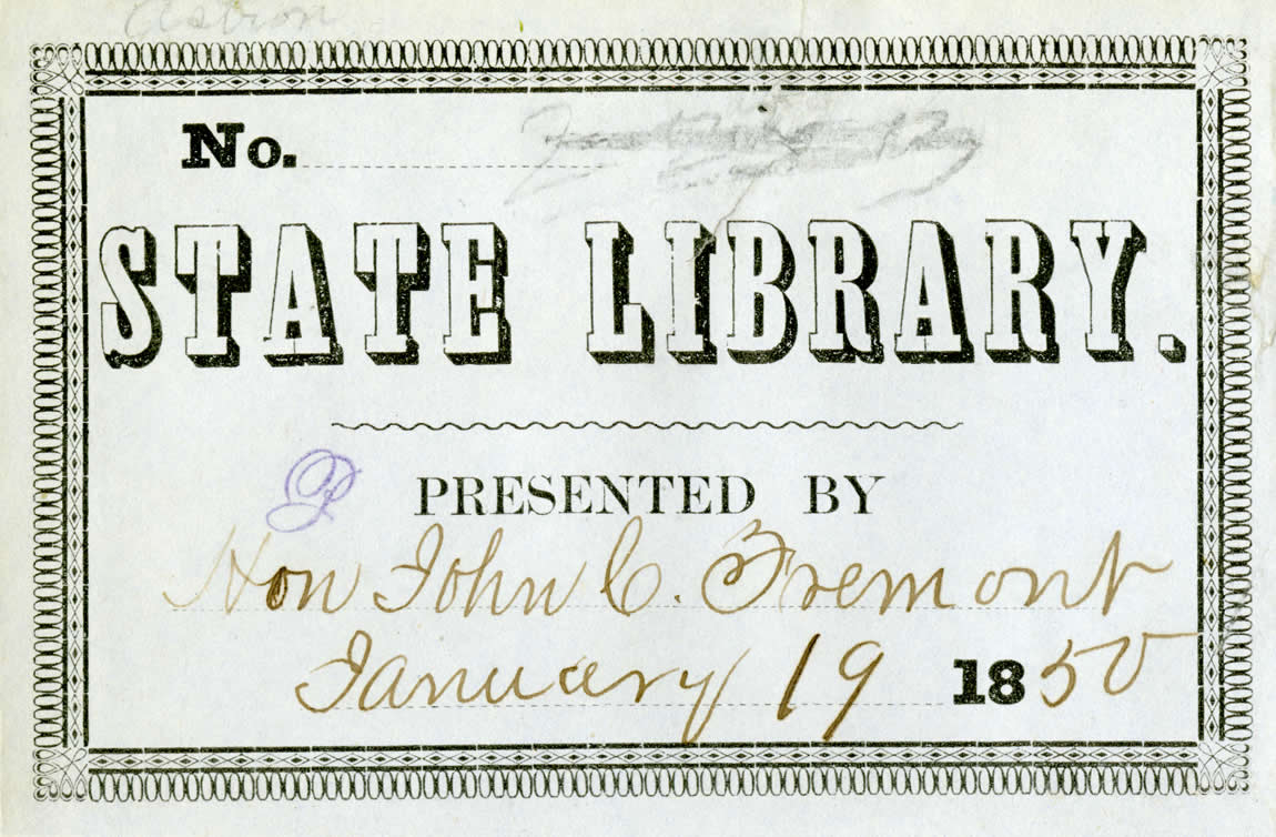 Early State Library label for a book donated by John Fremont, 1850