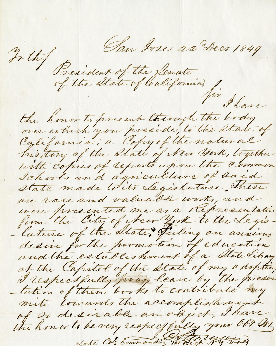 Colonel Jonathan Stevenson letter regarding the first book donated to the State Library, 1849