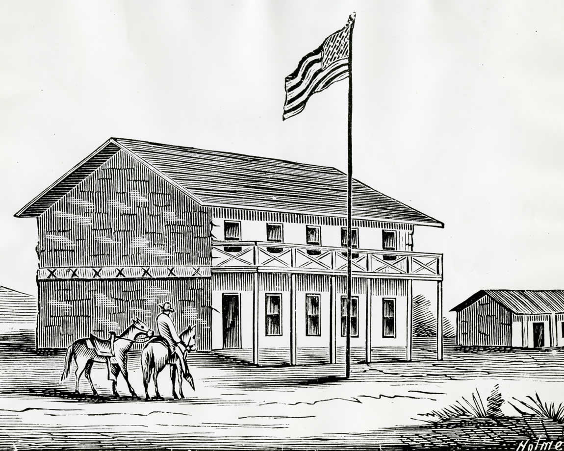 California's first State Capitol at San Jose and home of the State Library, c. 1850