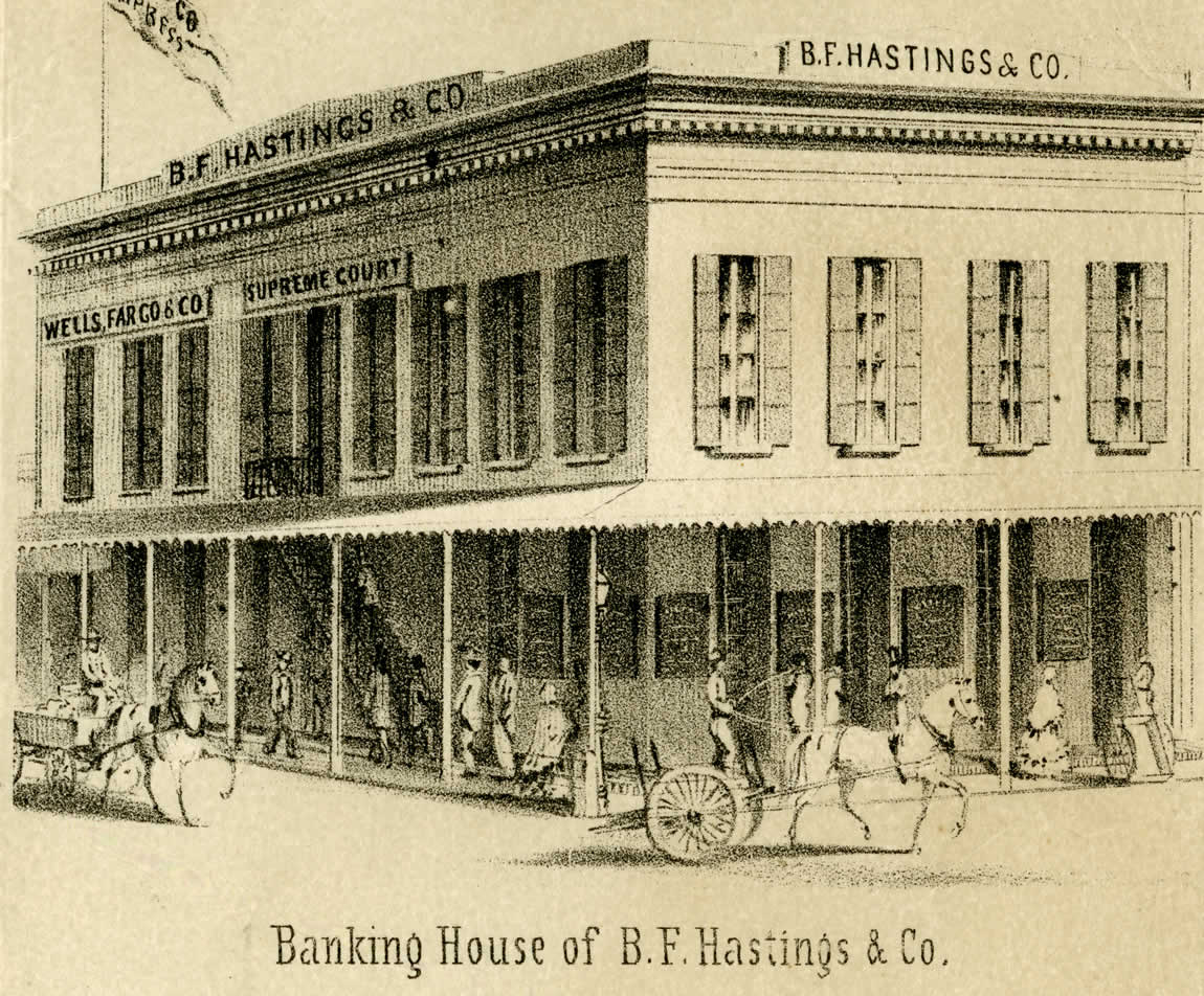Early lithograph view of the B. F. Hastings Building Sacramento which housed the State Library in Sacramento, 1857
