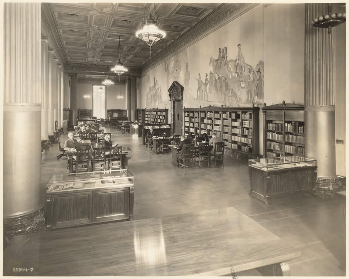 Gillis Hall, the main reading room in the recently completed Library and Courts Building, c. 1928