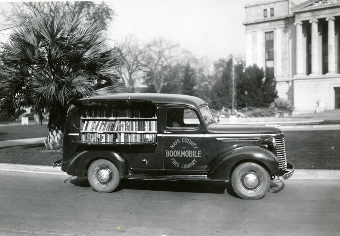 "Napa County Library ""Bookmobile"" in front of the Library and Courts Building, c.1940"