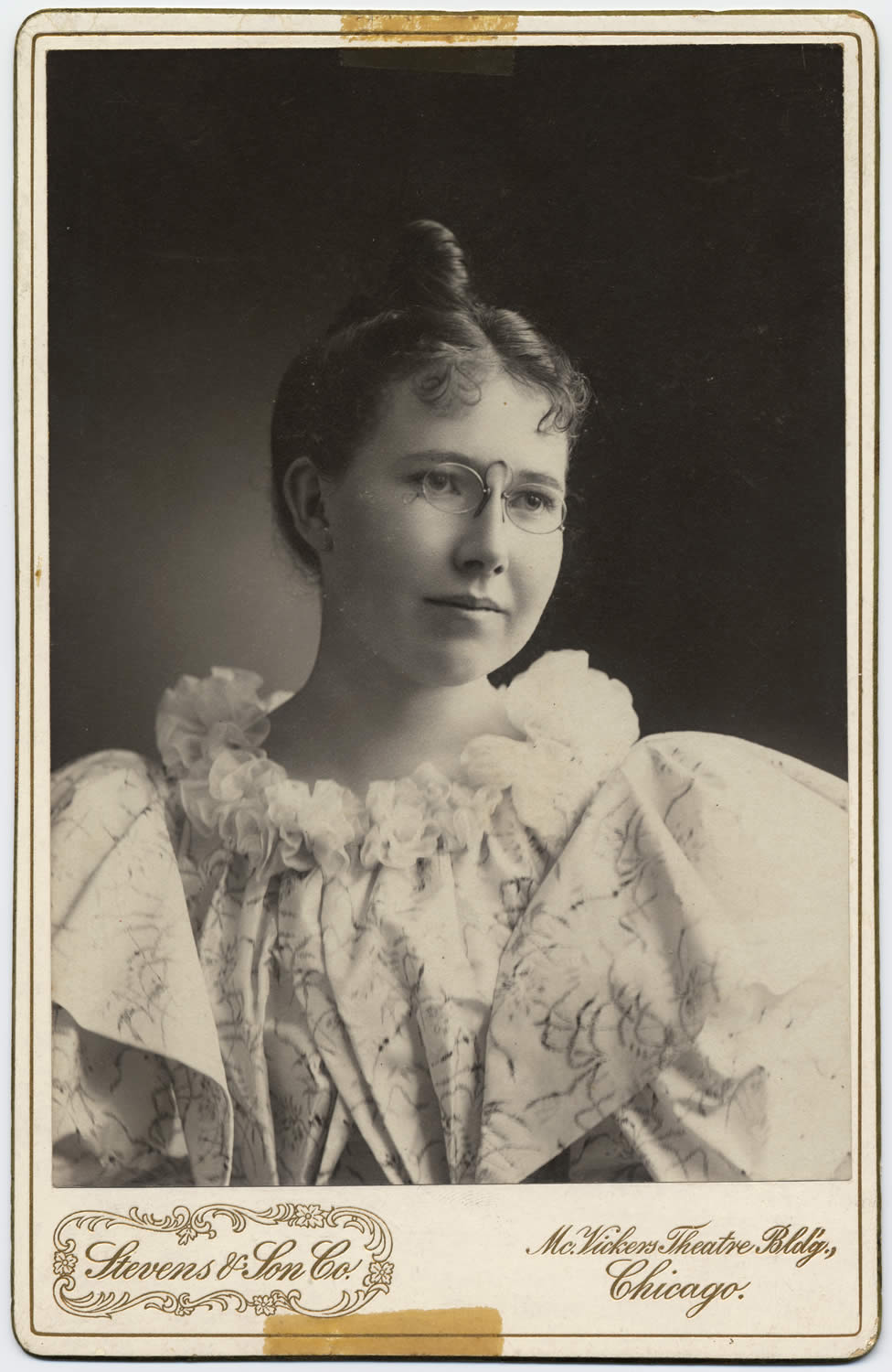 Portrait of Harriet Eddy who helped in the early organization of the county library system, c. 1890s