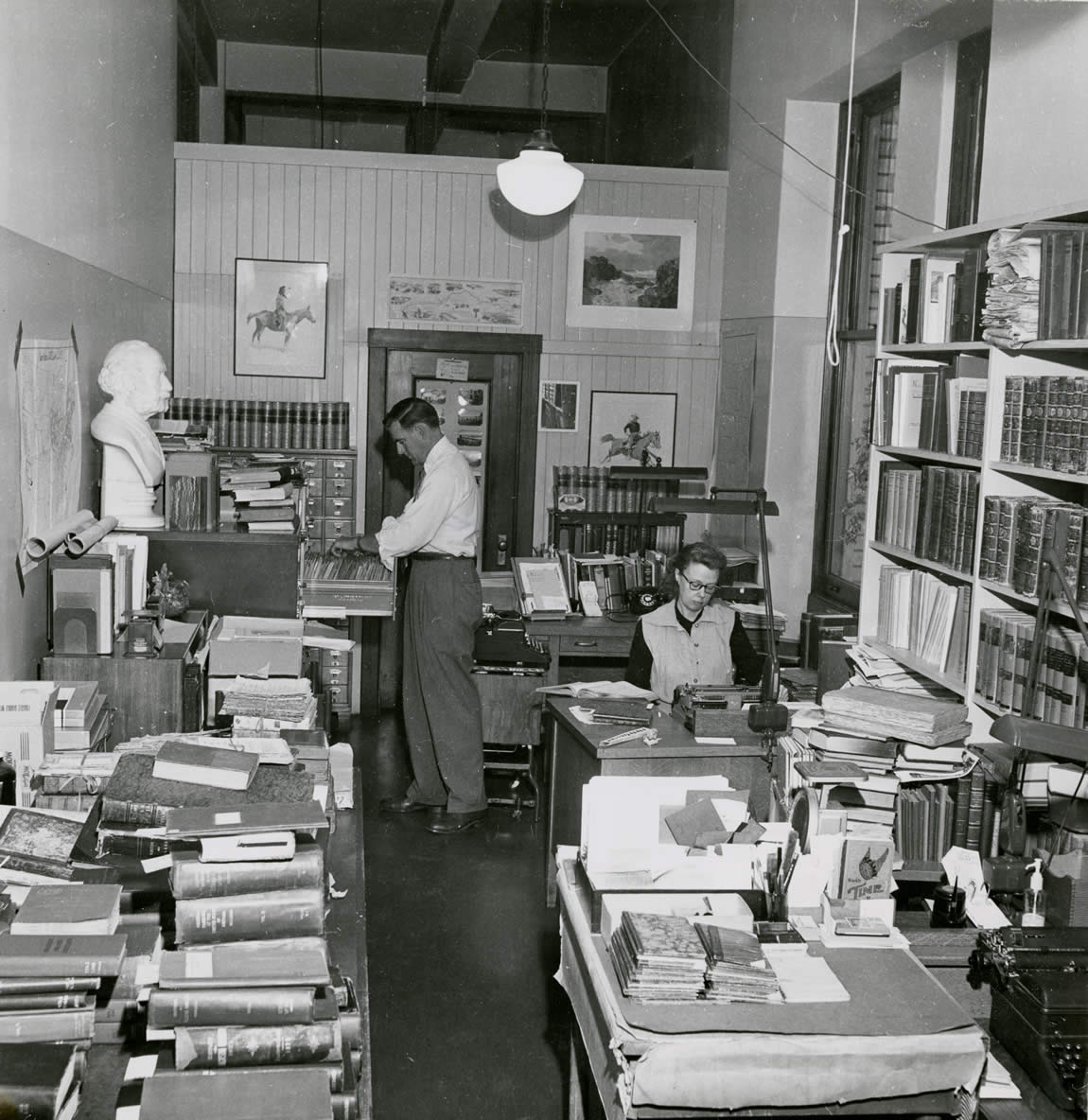 Interior view of the research room at the Sutro Library, before finding a permanent home, 1956