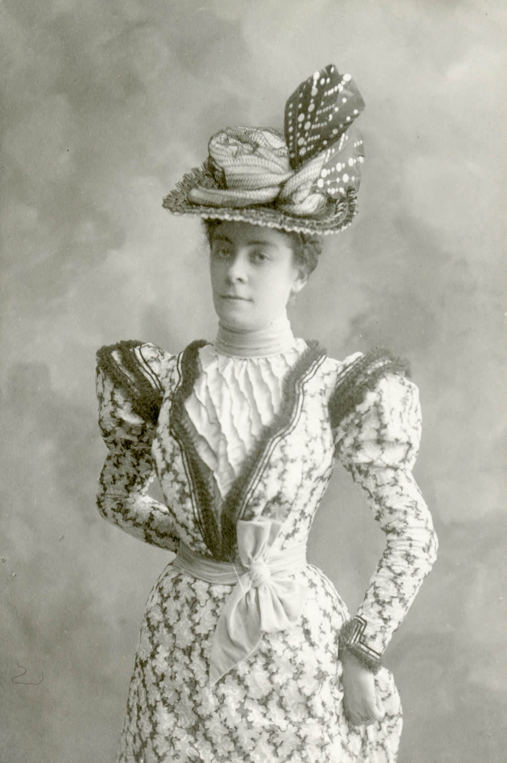 Portrait photo of Mary Eudora Garoutte, the first head librarian for the California Section, c. 1890s