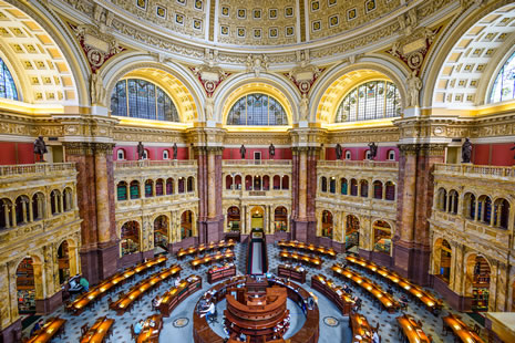Interior of the main reading room of the Library of Congress