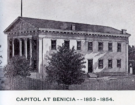 Early engravings of the capitol buildings at San Jose, Vallejo, and Benicia along with a photograph of the old Sacramento County Courthouse when used as the State Capitol, 1870s