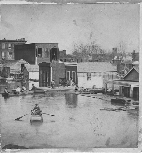 Photograph of a Sacramento street scene taken during the great flood of 1862