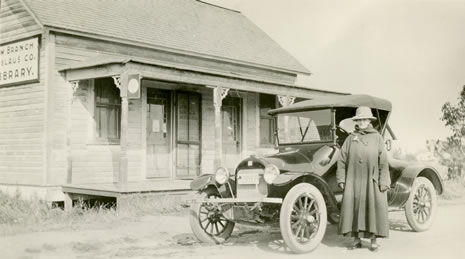 Mary Henshell Dexter at Claus Branch Library, Stanislaus County, 1917
