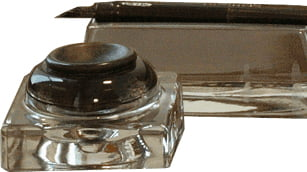 glass pen stand
