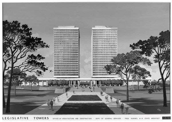 Architectural proposal for Collier Towers 1960s