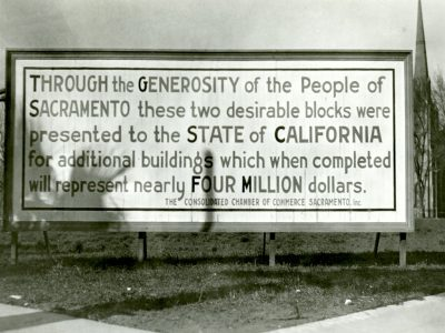 Billboard announcing the start of construction for the Capitol Extension early 1920s
