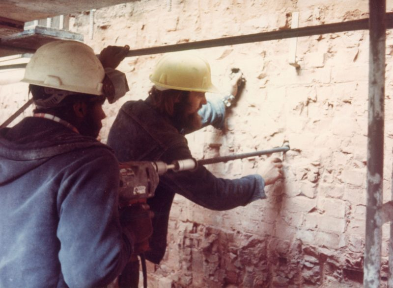 Drilling into brickwork in the Capitol late 1970s
