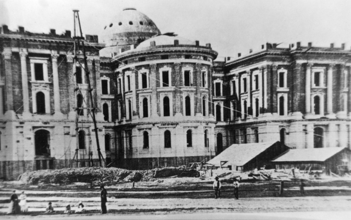 East construction of the Capitol and its apse circa 1868