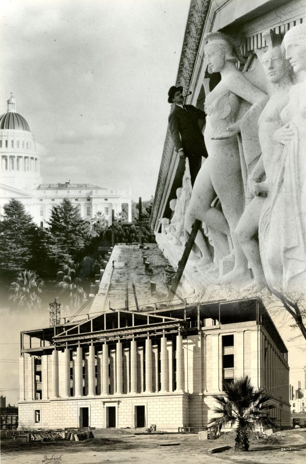 Edward Sanford Jr with his sculpture above- Construction on the Library and Courts Building below- 1920s