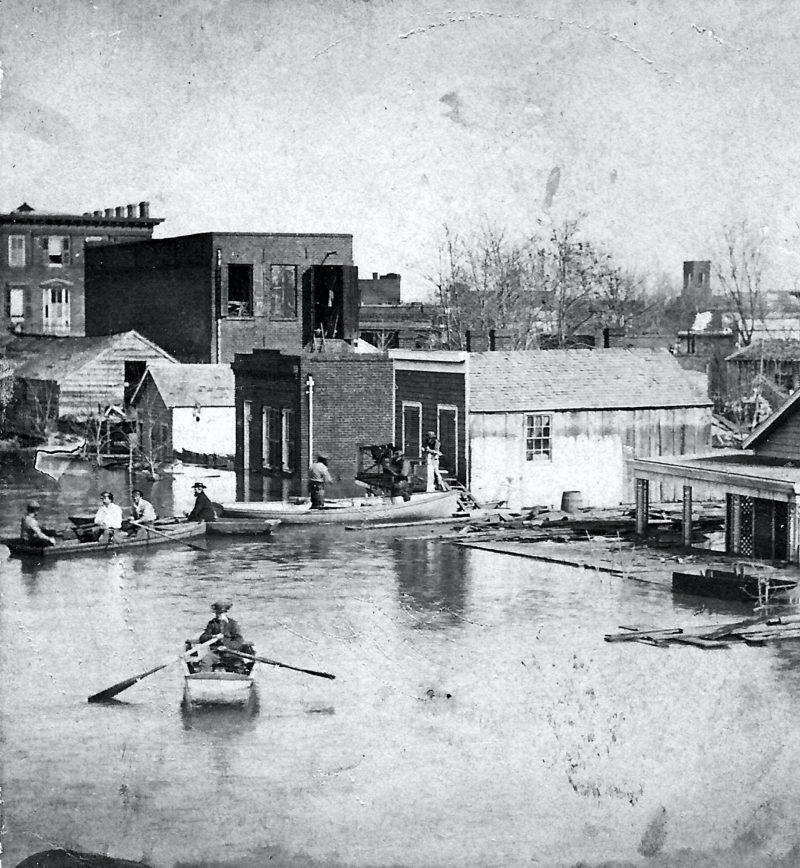 Flooded street scene in Sacramento 1862