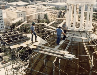 Restoration work on the upper dome
