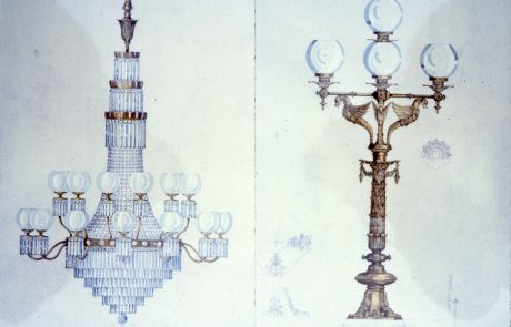 Sketches of Chamber Chandelier and staircase lamp