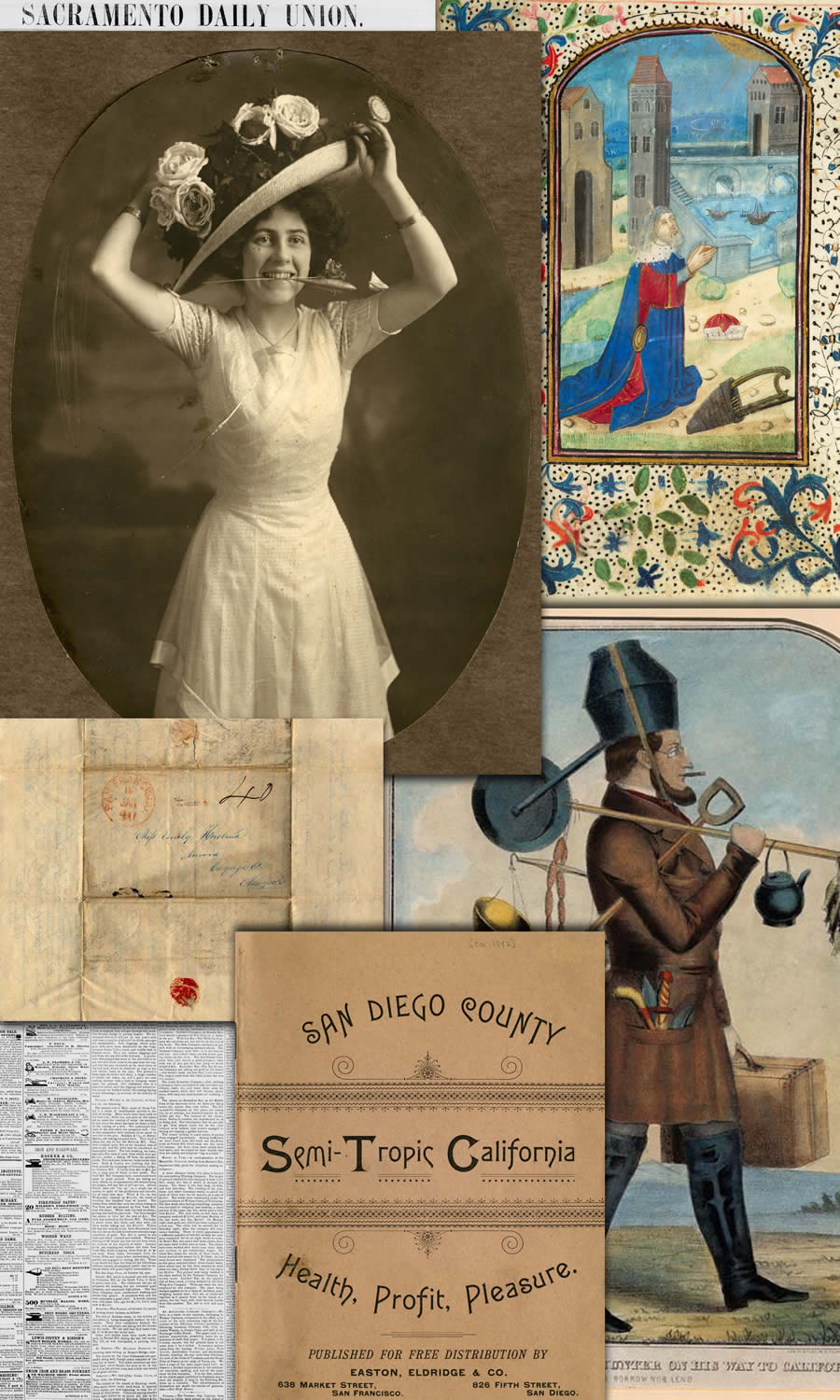 Montage of various items from the CSWL collections