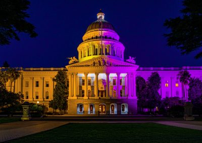 Front of the Capitol building illuminated in purple